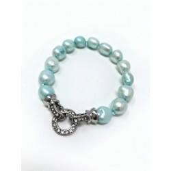 Collana perle di fiume bianche con pietra di luna e chips di ametista