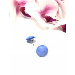 Orecchini a bottone blu in...